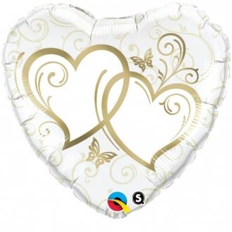 "Balon foliowy 18"" QL HRT ""Splecione Serca"" (złote) ST ASORT"