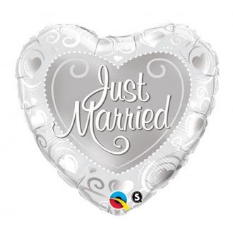 """Balon foliowy 18"""" QL HRT """"Just Married"""" (srebrne serca)"""