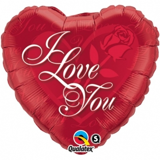 """Balon foliowy 18"""" QL HRT """"I Love You na róży"""""""
