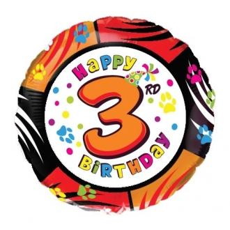 "Balon foliowy 18"" FX - "" Happy Birthday - 3 """