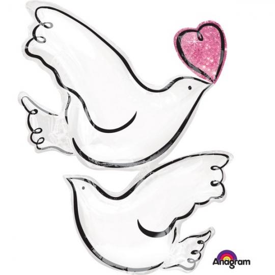 "Balon foliowy 24"" SHP - ""Wedding Doves"""