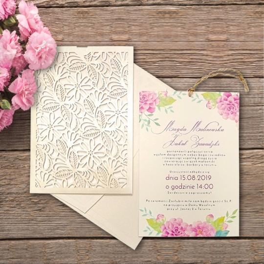 Zaproszenie Ślubne z Motywem Kwiatowym F5538