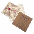 Zaproszenie Ślubne z Papieru Ekologicznego w Kolorze Ecru z Kwiatami F5540