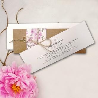 Zaproszenie Ślubne z Papieru Ekologicznego z Kwiatami F5547