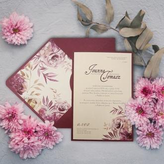 Zaproszenie Ślubne w Kolorze Ecru z Bordową Kopertą F5579