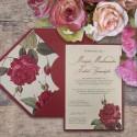 Zaproszenie Ślubne Bordowo Kremowe z Motywem Kwiatowym F5566