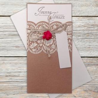 Zaproszenie Ślubne w Postaci Kieszonki z Papieru Ekologicznego F5561
