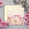 Zaproszenie Ślubne w Formie Kieszonki z Różowymi Kwiatami F5558