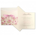 Zaproszenie Ślubne w Kolorze Ecru z Kwiatami i Wycięciem Laserowym F5537