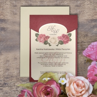 Zaproszenie Ślubne w Kolorze Ecru z Bordową Wkładką z Motywem Kwiatowym F5559