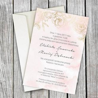 Zaproszenie Ślubne w Kolorze Delikatnego Różu z Motywem Kwiatowym F1412
