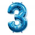 """Balon foliowy FX - """"Number 3"""" niebieski, 85 cm"""