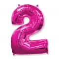 """Balon foliowy FX - """"Number 2"""" różowy 85 cm"""