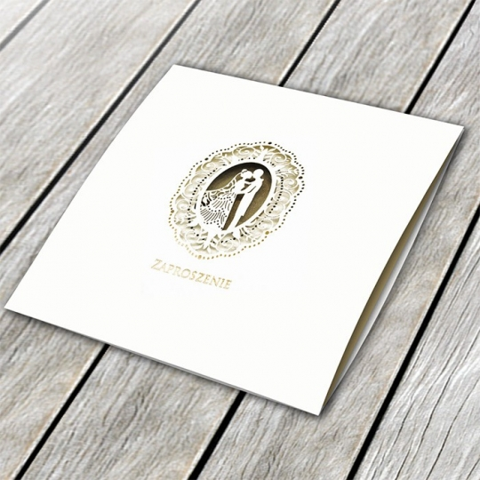 Zaproszenie Ślubne w kolorze ecru z motywem Młodej Pary F1411