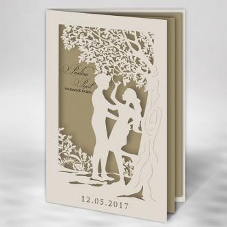 Zaproszenie Ślubne w Kolorze Ecru z Motywem Miłosnym F1395tz
