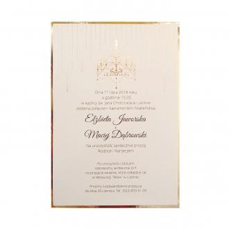 Zaproszenie Ślubne w Kolorze Ecru z Złotymi Dodatkami F1419