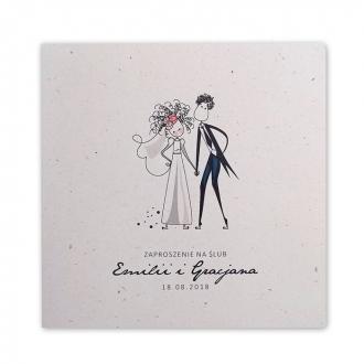 Zaproszenie Ślubne z Ilustracją Młodej Pary na Ławce F1422