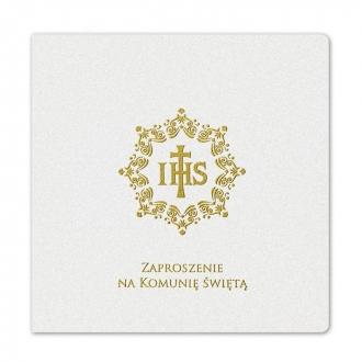 Zaproszenie Komunijne Koloru Białego z Złotym IHS FK6