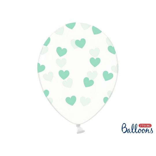 Balony 30cm, Serduszka, Crystal Clear, 50szt.