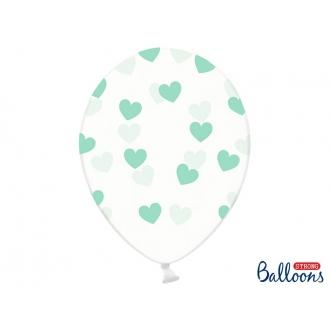Balony 30cm, Serduszka, Crystal Clear, 6szt.