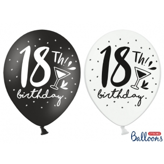 Balony 30cm, 18th! birthday, mix, 6szt.