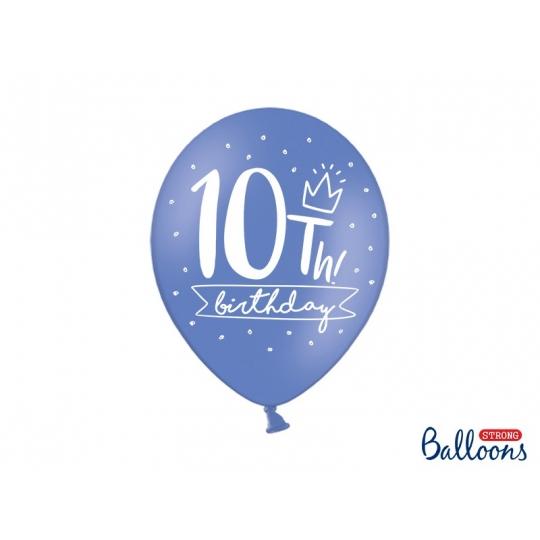 Balony 30cm, 10th! birthday, mix, 6szt.