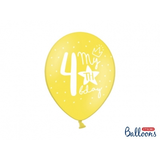Balony 30cm, My 4th bday, mix, 6szt.