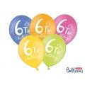 Balony 30cm, 6h! birthday, mix, 6szt.