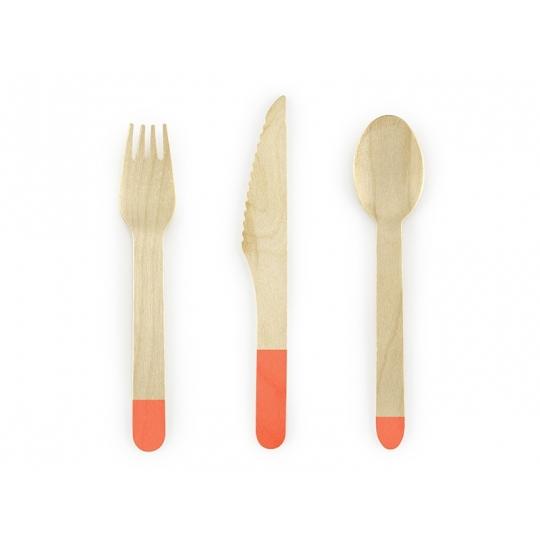 Sztućce drewniane, c. pomarańczowy, 16cm, 1op.