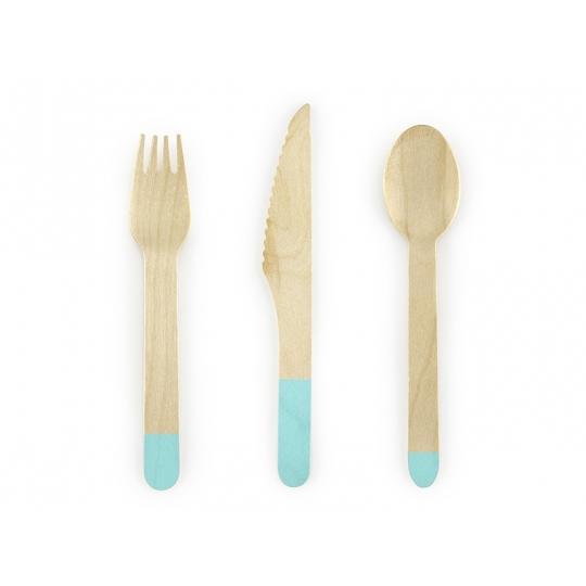 Sztućce drewniane, tiffany blue, 16cm, 1op.