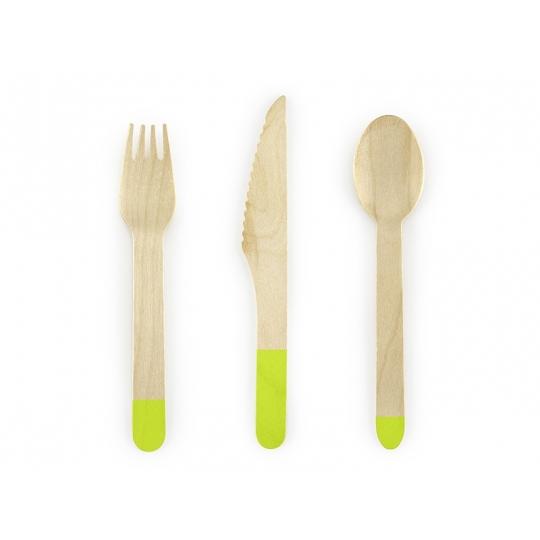 Sztućce drewniane, j. zielony, 16cm, 1op.