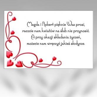Bileciki/Wkładki do Zaproszeń B17-50szt