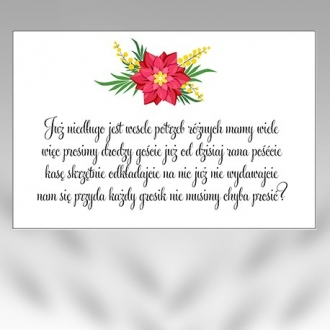 Bileciki/Wkładki do Zaproszeń B25-50szt
