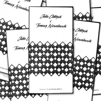 Zaproszenia Ślubne z Koronkową Banderolką F1268a