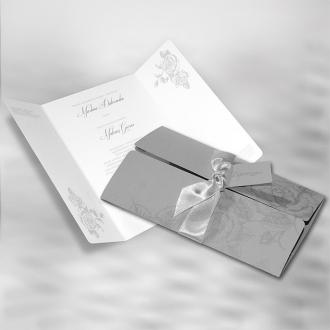 Szare Zaproszenia Ślubne z Subtelnym Motywem Kwiatowym F1278s