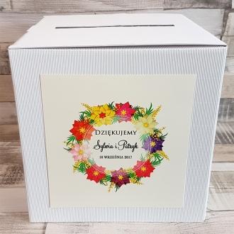 Pudełko na koperty i prezenty weselne z Motywem Kolorowych Kwiatów WP05