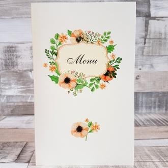 Menu Weselne z Motywem Pastelowych Kwiatów WM07