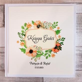 Księga Gości z Motywem Pastelowych Kwiatów WK07