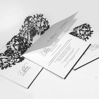 Zaproszenia Ślubne z Wzorem Koronkowym F1283ag