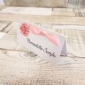 Menu Weselne z Motywem Róż i Różową Tasiemką WM09