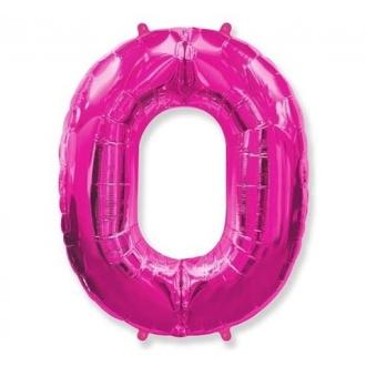 """Balon foliowy FX - """"Number 0"""" różowy 85 cm"""