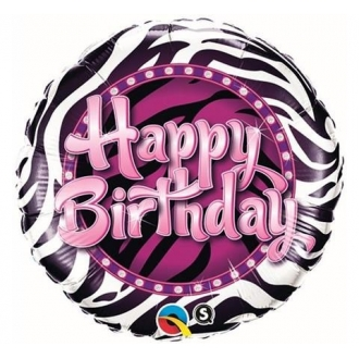 "Balon foliowy 18"" QL CIR ""Happy Birthday (zebra)"" ST ASORT"