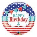 """Balon foliowy 18"""" QL CIR - """"Happy Birthday Natical & Pennants"""""""