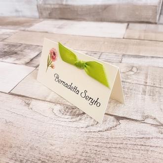 Winietka Ślubna z Motywem Pastelowych Kwiatów i Zieloną Tasiemką WW10
