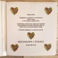 Pudełko na koperty i prezenty z Motywem Błyszczącego Kwiatowego Serca i Białą Tasiemką WP11