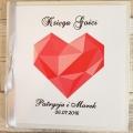 Pudełko na koperty i prezenty z Motywem Diamentowego Serca i Szarą Tasiemką WP13