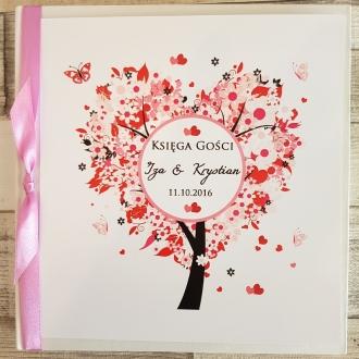 Księga Gości z Motywem Drzewa w Kształcie Serca i Fioletową Tasiemką WK14