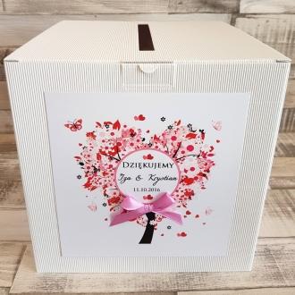 Pudełko na koperty i prezenty z Motywem Drzewa w Kształcie Serca i Fioletową Tasiemką WP14