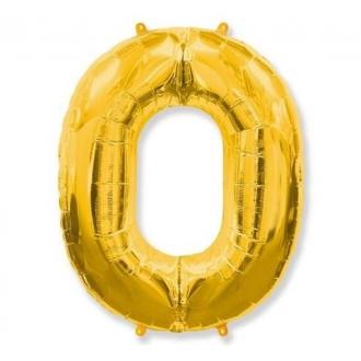 """Balon foliowy FX - """"Number 0"""" złoty, 85 cm"""