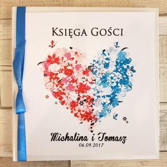 Księga Gości z Motywem Kwiatowego Serca Dwukolorowego i Niebieską Tasiemką WK15